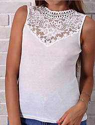 billige -kvinners t-skjorte - farge blokk rundt halsen