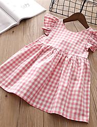 tanie -Dzieci Dla dziewczynek Słodkie Solidne kolory Krótki rękaw Do kolan Bawełna Sukienka Rumiany róż