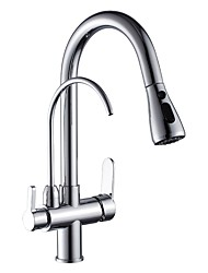 cheap -Kitchen faucet - Two Handles One Hole Chrome Vessel