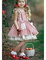 olcso -Gyerekek Lány aranyos stílus / Utcai sikk Csíkos Csipke / Nyitott hátú Ujjatlan Térd feletti Pamut Ruha Rubin