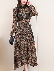 cheap -Women's Elegant A Line Dress - Leopard Red Yellow XL XXL XXXL