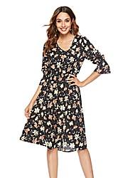 preiswerte -Damen Grundlegend A-Linie Hülle Kleid Blumen Knielang