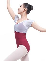 olcso -Balett Akrobatatrikó Női Edzés / Teljesítmény Chinlon / Háló / Elasztán Kombinált Rövid ujjú Akrobatatrikó / Egyrészes