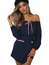 cheap -Women's Sheath Dress - Solid Colored Blue Gray M L XL