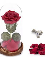Недорогие -1шт USB красная шелковая роза и светодиодная подсветка красоты и зверь роза с опавшими лепестками в стеклянном куполе подарок на день Святого Валентина