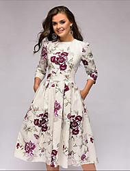 cheap -Women's Basic A Line Dress - Floral Print Beige L XL XXL