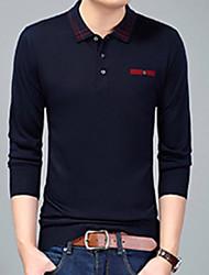 baratos -Homens Camiseta Sólido Colarinho de Camisa