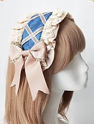저렴한 -코스프레 JK 유니폼 여성용 어른' 프린세스 로리타 고딕 여자애 헤드 피스 코스츔 헤드 웨어 베이지 / 라이트 퍼플 / 블루 레이스 레이스 패브릭 헤드 피스 로리타 액세서리