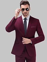 abordables -Smokings Coupe Sur-Mesure / Coupe Standard Cranté Droit 1 bouton Laine / Polyester Couleur Pleine