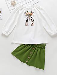 voordelige -Baby Meisjes Informeel / Standaard Print Print Lange mouw Normaal Katoen Kledingset Wit