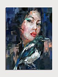voordelige -Hang-geschilderd olieverfschilderij Handgeschilderde - Mensen Modern Zonder Inner Frame