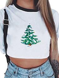 billige -Kvinders eu / us størrelse t-shirt - tegneserie rund hals