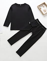 tanie -Dzieci Dla chłopców Podstawowy / Wzornictwo chińskie Solidne kolory Długi rękaw Bawełna / Spandeks Komplet odzieży Czarny