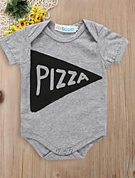 billige -Baby Gutt Aktiv / Grunnleggende Geometrisk / Trykt mønster Elegant / Printer / Trykt mønster Kort Erme Bomull / Nylon Body Grå