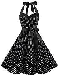 Недорогие -Жен. Классический С летящей юбкой Платье - Горошек Средней длины