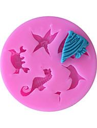 hesapli -Yunuslar hipokampus denizyıldızı silikon kalıp fondan kek dekorasyon mutfak araçları