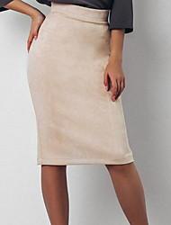 Недорогие -женские карандаши до колен / облегающие юбки - однотонные
