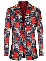 Недорогие -Муж. С принтом Костюмная куртка Активный / Классический Контрастных цветов / Животное Лев