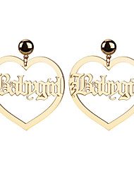 Недорогие -Жен. Серьги-гвоздики Серьги Сердце Буквы модный корейский Крупногабаритные Бижутерия Золотой Назначение Для клуба Бар 1 пара