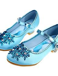 Недорогие -Девочки Детская праздничная обувь / Крошечные Каблуки для подростков Сатин Обувь на каблуках Малыш (9м-4ys) / Маленькие дети (4-7 лет) / Большие дети (7 лет +) Стразы / Бусины Серебряный / Синий