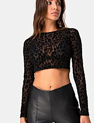 billige -kvinners slanke bluse - leopard rund hals