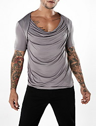 olcso -férfi póló - tömör színű v nyak