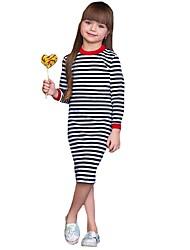 voordelige -Kinderen / Peuter Meisjes Standaard / leuke Style Gestreept Lange mouw Tot de knie Katoen / Polyester Jurk Zwart