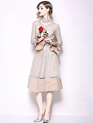 저렴한 -여성용 우아함 스윙 드레스 - 솔리드, 레이스 미디