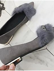 저렴한 -여성용 구두 인조 모피 가을 플랫 낮은 굽 일상 용 블랙 / 그레이