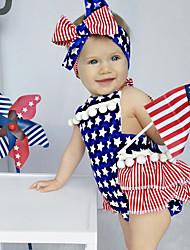billige -Baby Jente Aktiv / Grunnleggende Geometrisk Printer Ermeløs Bomull Endelt Blå