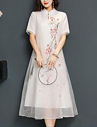 preiswerte -Damen Chinoiserie A-Linie Kleid Blumen Midi