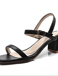 ieftine -Pentru femei PU Primavara vara Afacere / minimalism Sandale Toc Îndesat Vârf deschis Negru / Bej / Verde Militar