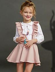 billige -Baby Pige Afslappet / Gade Ensfarvet Sløjfer / Drapering Langærmet Normal Rayon Tøjsæt Lyserød