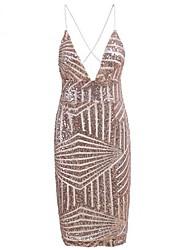 tanie -Damskie Podstawowy Bodycon Sukienka - Solidne kolory, Cekiny Nad kolano