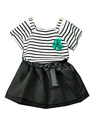 tanie -Dzieci Dla dziewczynek Podstawowy Solidne kolory Krótki rękaw Regularny Regularny Bawełna Komplet odzieży Czarny