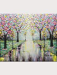 olcso -Hang festett olajfestmény Kézzel festett - Landscape Virágos / Botanikus Modern Anélkül, belső keret