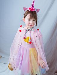 Χαμηλού Κόστους -Παιδιά Κοριτσίστικα χαριτωμένο στυλ Κινούμενα σχέδια Πλισέ Μακρυμάνικο Ως το Γόνατο Βαμβάκι Φόρεμα Ανθισμένο Ροζ