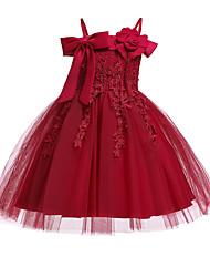 お買い得  -子供 女の子 活発的 / 甘い ソリッド ノースリーブ 膝丈 ドレス ピンク