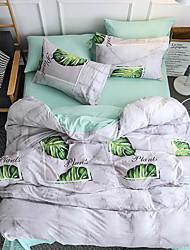 abordables -Ensembles housse de couette Fleur / Luxe / Moderne Polyester Imprimé 4 PiècesBedding Sets