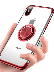 Недорогие -Кейс для Назначение Apple iPhone XS / iPhone XR / iPhone XS Max Покрытие / Кольца-держатели / Прозрачный Кейс на заднюю панель Однотонный Мягкий ТПУ