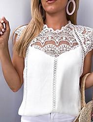 Недорогие -Жен. Кружева Блуза Свободный силуэт Однотонный Белый / Весна / Лето