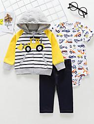 billige -Baby Gutt Fritid / Grunnleggende Stripet / Trykt mønster Trykt mønster Langermet Normal Bomull Tøysett Rød