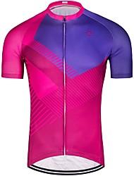 お買い得  -男性用 半袖 サイクリングジャージー - ローズレッド 縞柄 バイク ジャージー トップス 高通気性 速乾性 スポーツ ポリエステル100% マウンテンサイクリング ロードバイク 衣類 / 伸縮性あり