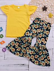 hesapli -Bebek Genç Kız Temel Desen Kısa Kollu Kısa Pamuklu / Polyester Kıyafet Seti Sarı