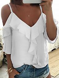 baratos -Mulheres Blusa Sólido Branco M