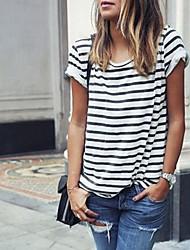 お買い得  -女性用 Tシャツ ストライプ ホワイト M