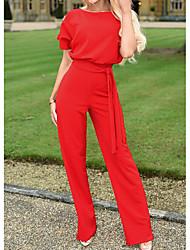povoljno -Žene Ulični šik Bež Navy Plava Bijela Jumpsuits, Jednobojni XL XXL XXXL