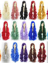 halpa -Synteettiset peruukit Suora Tyyli Keskiosa Suojuksettomat Peruukki Ombre Rose / vihreä Punainen / Vihreä Pronssi Synteettiset hiukset 22 inch Naisten Party Ombre Peruukki Hyvin pitkä Luonnollinen