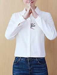 hesapli -Kadın's Gömlek Çiçekli Beyaz L