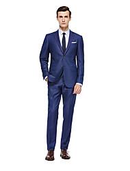 お買い得  -ロイヤルブルー ソリッド スタンダードフィット ウール スーツ - ノッチドラペル シングルブレスト 二つボタン